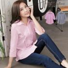 Plain Button-accent 3/4-sleeve Blouse