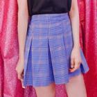 Band-waist Pleated Plaid Mini Skirt