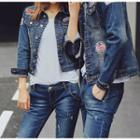 Couple Matching Badge Detail Washed Denim Jacket