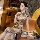 Short-sleeve Floral Print Faux Silk Qipao
