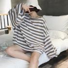 Striped Lantern-sleeve Sweatshirt