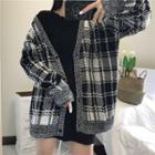 Plaid V-neck Cardigan