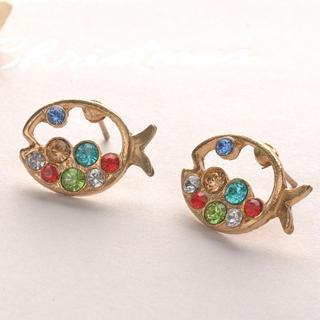 Colorful Diamond Fish Earrings - Other Color Others - One Size