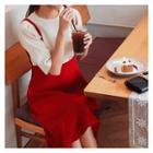 Suspenders A-line Midi Skirt