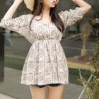 V-neck Elbow-sleeve Gathered Floral Top