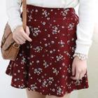 Band-waist Floral Pattern Flare Skirt