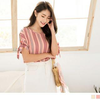 Tie-cuffed Striped Round Neck Chiffon Top