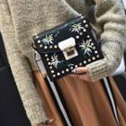 Embroidered Faux Leather Crossbody Bag