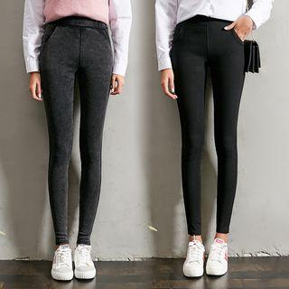 Plain High-waist Leggings