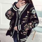 Flower Embroidered Chunky Cardigan