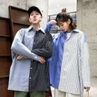 Couple Matching Long-sleeve Striped Panel Shirt