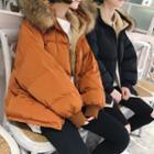 Furry Trim Hooded Zip Padded Jacket