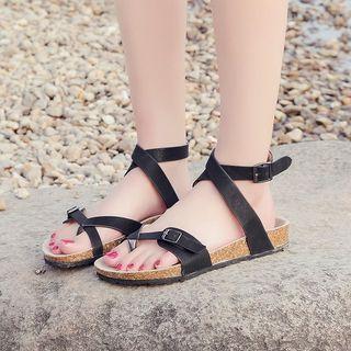 Cross Strap Cuffed Sandals