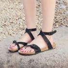 Cross Strap Cuffed Sandals