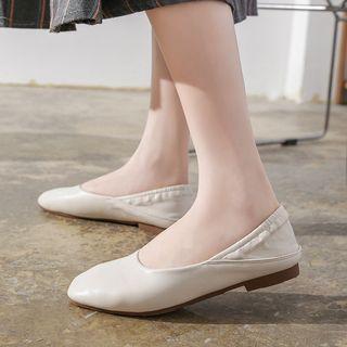 Faux-leather Panel Square-toe Flats