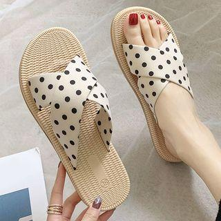 Cross Strap Dotted Slide Sandals