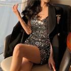 Sleeveless Sequined Mini Bodycon Dress