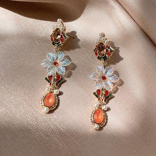 Faux Crystal Alloy Dangle Earring Flower Earring - One Size