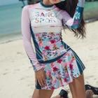 Set: Long-sleeve Floral Print Swim Top + Swim Skirt