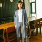 Puff-sleeve Long Cardigan