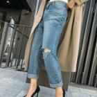 Slashed Washed Boyfriend Jeans