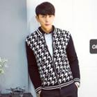 Houndstooth-panel Zip-up Knit Jacket
