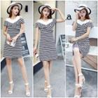 Cutout Shoulder Striped Panel Knit Dress