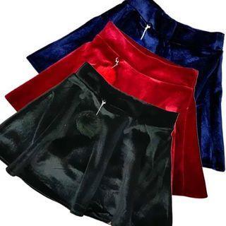 Mini Velvet Pompom A-line Skirt