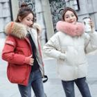 Furry-trim Hooded Lettering Padded Jacket