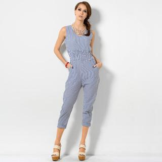 Stripe Smocked Jumpsuit Blue And White - One Size