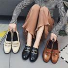 Faux-leather Metal Accent Loafers
