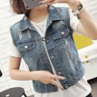 Buttoned Ripped Denim Vest
