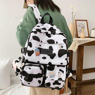 Milk Cow Print Nylon Backpack