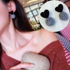 Heart Pompom-accent Earrings