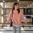 Mock Two-piece Letter Sweatshirt Pink - One Size