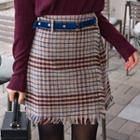 Wrap-front Checked Skirt With Belt