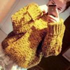 Mock Collar Chunky Knit Sweater
