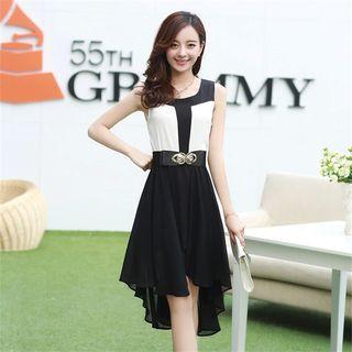 Sleeveless Paneled Color-block Dress