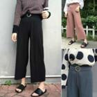 Plain Loose-fit Pleated Cropped Wide-leg Pants