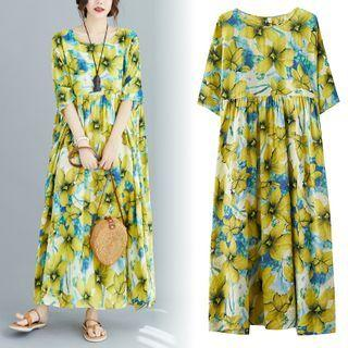 Elbow-sleeve Floral Print A-line Maxi Dress As Shown In Figure - One Size