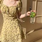 Chiffon Balloon-sleeve Floral Dress