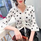Dotted Drawstring Elbow-sleeve T-shirt