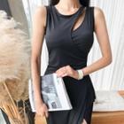 Cutout Draped Sleeveless Midi Bodycon Dress