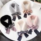 Printed Bow-accent Faux Fur Scarf