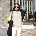 Hooded Color-block Dolman-sleeve Knit Top
