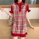 Short-sleeve Checker Polo Shirt Dress As Shown In Figure - One Size