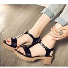 Chunky Heel T-bar Sandals