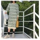Patterned Long-sleeve Midi Knit Dress