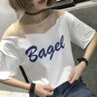 Mesh Panel Lettering Elbow Sleeve T-shirt