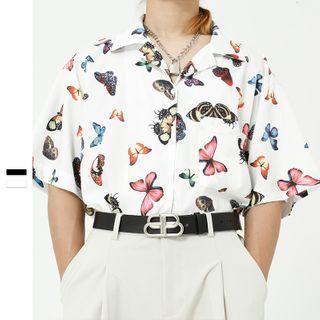 Butterfly Printed Short-sleeve Shirt